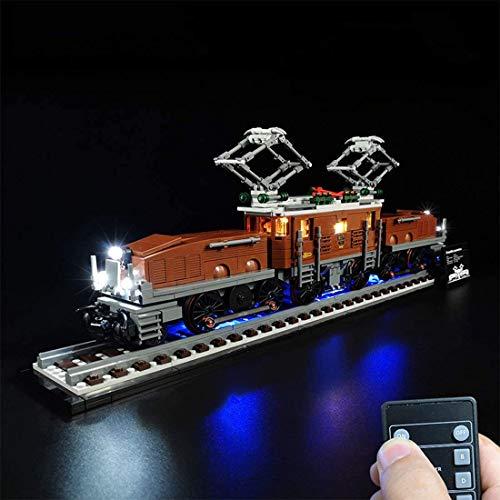 JXJ Kit di Illuminazione A LED per Locomotiva A Coccodrillo - Compatibile con Lego 10277 Modello di Blocchi - Alimentato Via USB - Non Include Il Set Lego,Remote Control Version