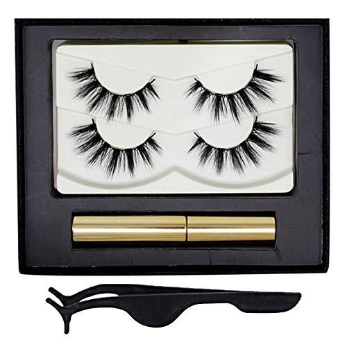 Jinclonder magnetischer flüssiger Eyeliner Pinzetten-Kit für falsche Wimpern, 3D wasserdichter, langlebiger, wischfester, Perfekter Eyeliner für falsche Wimpern/Schwarz