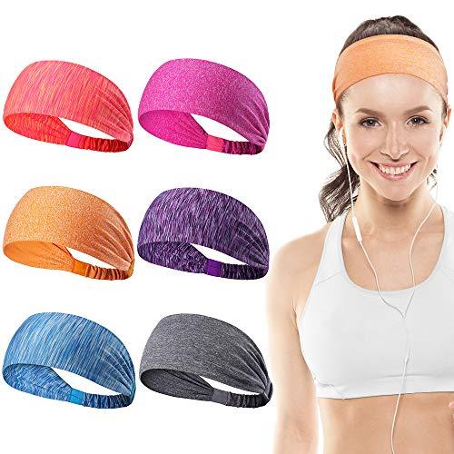 Dreamlover Workout Headbands for Women, Exercise Headbands for Men, Sports Headbands Non Slip, 6 Pack
