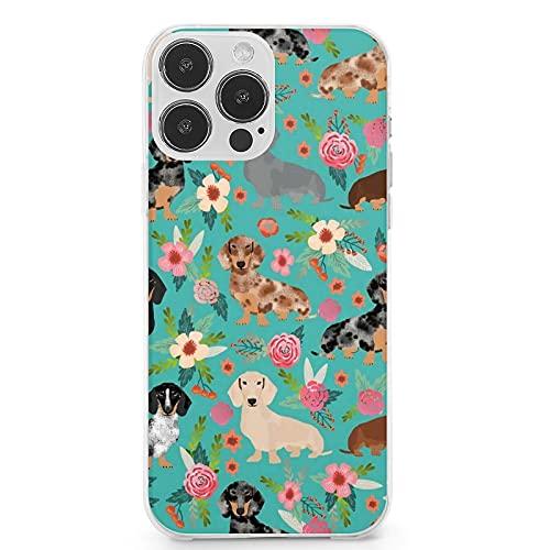 Compatible con iPhone 13 Pro Max, Dachshund Floral Perros y Flores Perro Anti-Arañazos Suave Lindo TPU a prueba de golpes Funda protectora completa para iPhone 13 Pro Max 6.7 pulgadas (2021)