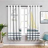 Cortina de decoración náutica negra para dormitorio Let Your Dreams Set vela rayas yate navegación interior tema muebles protectores azul gasolina amarillo blanco blanco W72 x L72 pulgadas