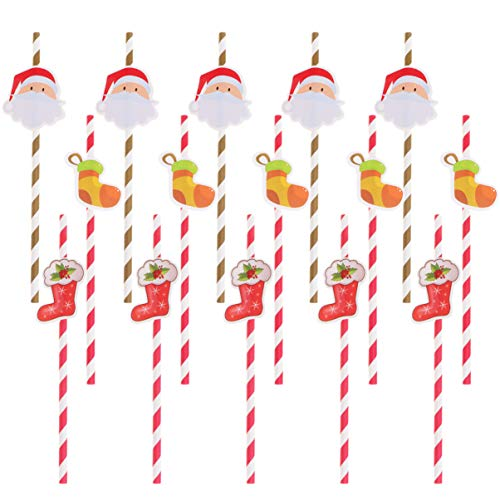 Artibetter 30pcs Striped Straws Christmas Paper Straws with Santa Stocking Pattern Christmas Party Favors