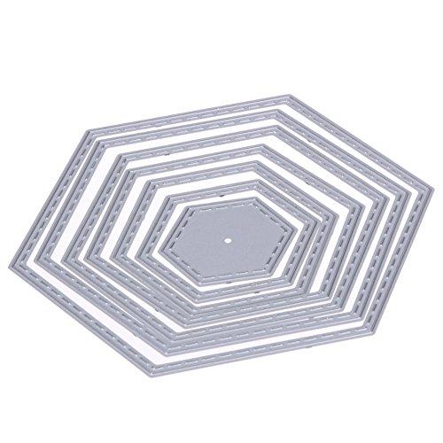 Demiawaking Hexagon Spirale Stanzschablonen Metall Schneiden Schablonen für DIY Scrapbooking Album, Schneiden Schablonen Papier Karten Sammelalbum Dekor