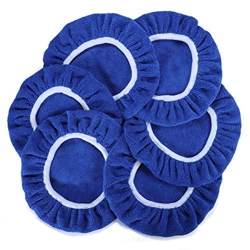 AUTDER Car Polishing Pads (9 to 10 Inch) Polisher Bonnet - Soft Mircofiber Max Waxer Pads - Polishing Bonnet for Most Car Polishers 6Pcs - Blue