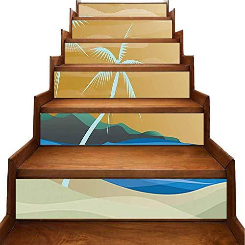 The Ocean Sandy Shore - Calcomanía para escaleras con diseño de hamaca con palmeras, Blanco-09, 7'x39.3'x6pcs