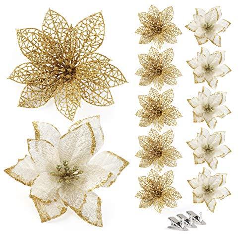 24 Piezas Flores Artificiales de Navidad para Árbol de Navi