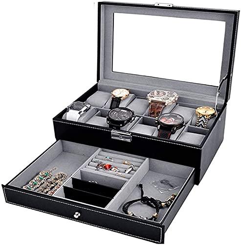 OH Caja de Alenamiento de Joyería Portátil para Collares Pulseras Pendientes Anillos Negro 30X20X13Cm Joyería Caja de Alenamiento Accesorios Stor Moda/Negro / 30x20x13cm