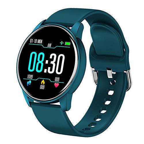 Women Smart Watch Pronóstico del Tiempo en Tiempo Real Actividad Tracker Tarifa cardíaca Monitor Sports Ladies Smart Watch Men para Android iOS-Azul