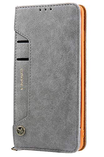 Handytasche Compatible with Samsung Galaxy S10,Kunst Leder Case Handyhülle Flip Case mit Kredit Karten Hülle Geldklammer Unsichtbar Magnet und Stand Funktion Schutzhülle,Grau