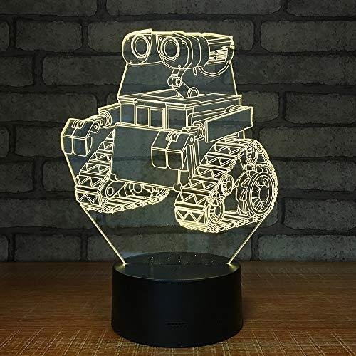 Lampe Créatif Cadeau Bande Dessinée Tank Tracteur Creative Led 3d Veilleuses Décoration Maison Coloré Télécommande Tactile Led USB 3D Lampe