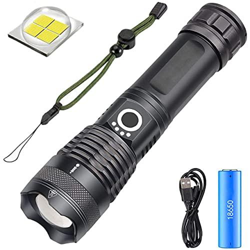 Linterna LED XHP70 de 6000 Altos Lúmenes, Recargable por USB, con 5 Modos, Resistente al Agua, Función de Zoom, Luz Super Brillante y Batería para Actividades al Aire Libre e Interiores