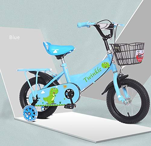 Vobajf Bicicleta de Equilibrio de los niños Cute Kids Boys Gilrs Cute Cartoon Painting Bike con estabilizadores 12 Pulgadas Edad 3-5Y Bicicletas (Color : Azul)