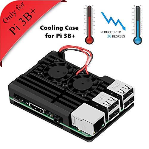 GeeekPi Armor Caja, Caja de aleación de Aluminio Raspberry Pi 3 B + con Ventilador de refrigeración Doble Ventilador para Raspberry Pi 3 Modelo B + (Solo para Pi 3B +)