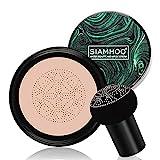 SIAMHOO Fond de Teint Couvrant CC Crème avec Eponge Maquillage Fond de Teint Liquide pour Contrôle de l'huile Hydratante (Naturelle)