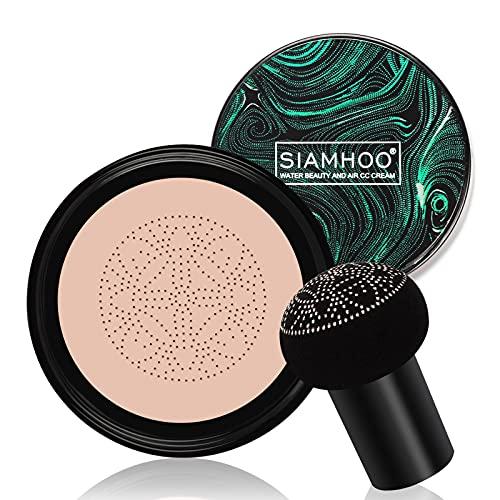 SIAHMOO CC Cream Fondotinta Liquido Full Coverage Foundation Makeup Cushion Foundation con spugna a testa di fungo per un trucco impeccabile, tono della pelle uniforme - 0.7fl.oz (naturale)