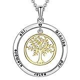 LOVORDS Collar Mujer Grabado Plata de Ley 925 Colgante Árbol de la Vida Familiar Círculo Regalo Madre Mamá Esposa...