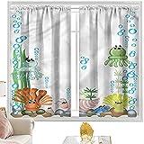 Cortinas de dormitorio, medusas, acuario de dibujos animados para niños, 122 x 225 cm, bolsillo para barra de cortinas
