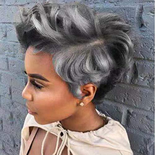 Dames zilver wit met zwarte pruik, kort krullend haar, synthetische zijde op hoge temperatuur, zwarte vrouwen pruik