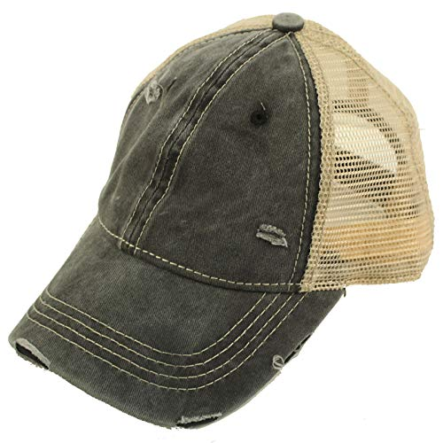 CC Everyday Distressed Trucker Mesh Summer Vented Baseball Sun Cap Hat Black