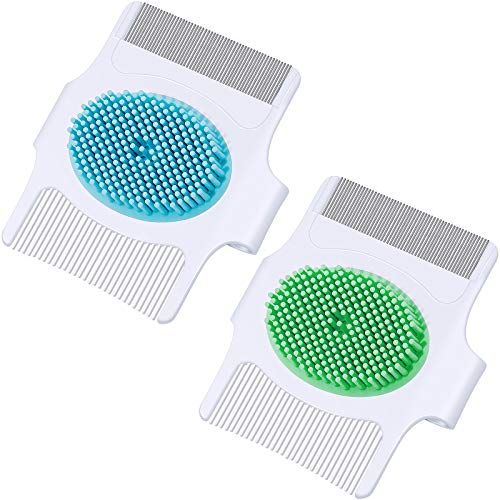 2 Pieces Cradle Cap Brush and Comb, 3-In-1 Design Cradle Cap Brush Safe Baby's Scalp Brush with Soft Rubber Bristles, Help Gently Massage Care Scalp
