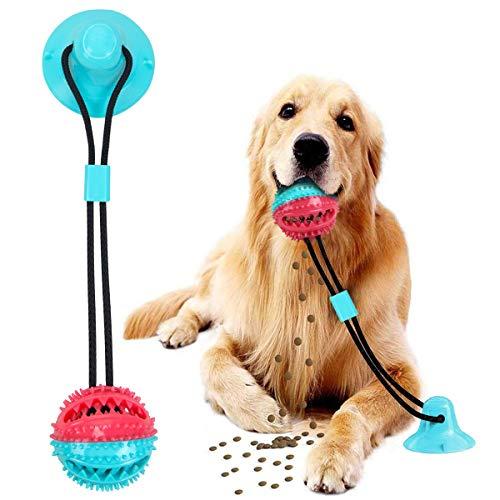 WonderTech Hundespielzeug mit Saugnapf, Multifunktions Hund Ball Kauspielzeug, für Kleine mittlere große Hunde
