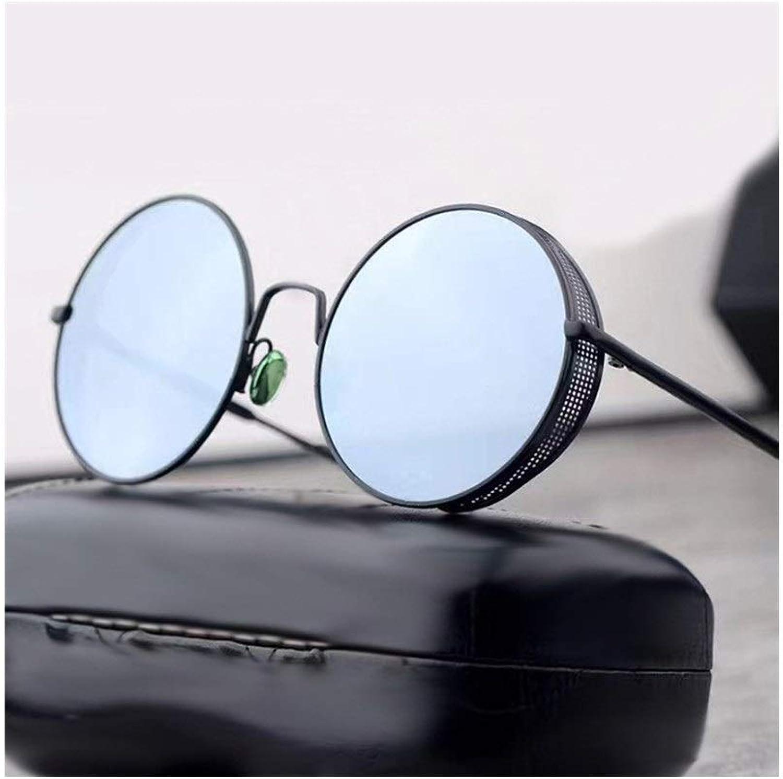Fashion Classic Round Metal Sunglasses, Retro Eyeglasses for Women and Men Sunglasses Retro (color   Black Silver)