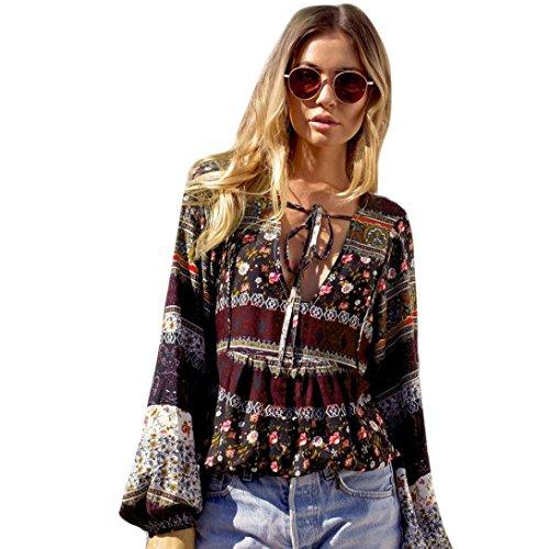 NPRADLA 2020 Mode Damen Sommer Boho Langarm Casual Bluse Lose Tops T Shirt