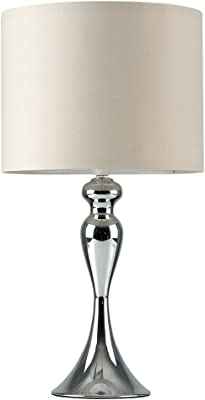 Modern Polished Chrome Spindle Design Table Lamp - Complete with a Beige Cylinder Light Shade