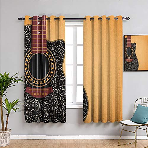 Pcglvie guitar Kids curtain, Curtains 63 inch length clipped guitar with vintage floral folk ornaments musician hobbies for Living Room or Bedroom pale orange black maroon W52 x L63 Inch