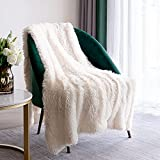 Throw Blankets for Bed,Solid White Fluffy Blanket 50' X 60',Cozy White Decorative Faux Throw Blanket for Couch,Sofa,Faux Fur Blanket