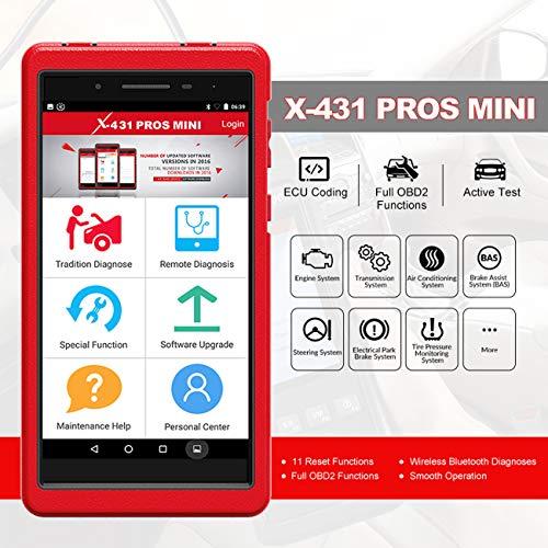 LAUNCH Pros Mini, Avancée Universal X431 Outil de Diagnostic Automobile, Scanner OBD2, Lecteur de Code avec WiFi et connectivité Bluetooth + 2 an de mises à Jour gratuites en français