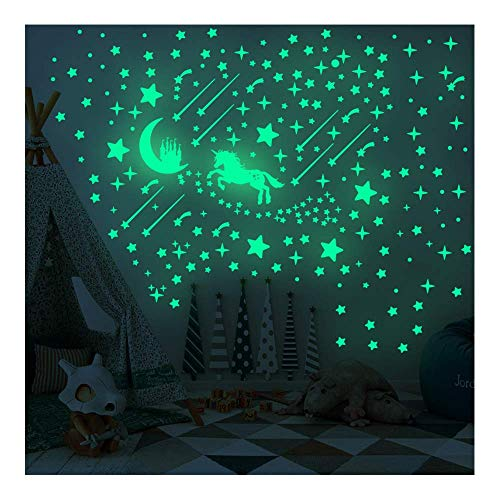 Feliciay 296 pegatinas luminosas de unicornio, castillo y estrella, pegatinas de pared arco iris para ropa de cama de niños, decoración de techo de estrellas para niñas y niños regalo de cumpl