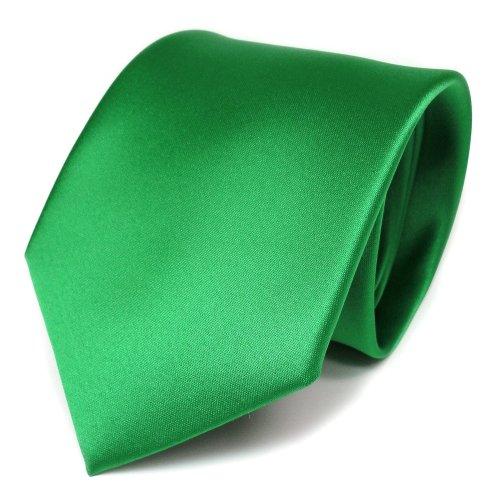 TigerTie TigerTie Designer Satin Krawatte in grün leuchtgrün einfarbig uni