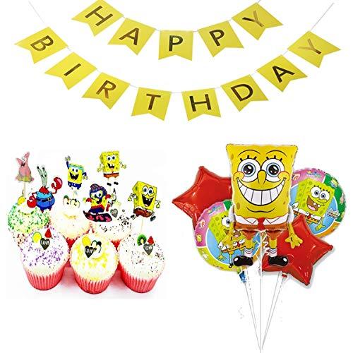 スポンジボブ 誕生日 飾り付け キャラクター イエロー 可愛い 子供 男の子 女の子 ケーキトッパー バルーン 風船 スター レッド happy birthday バナー ガーランド 30枚セット