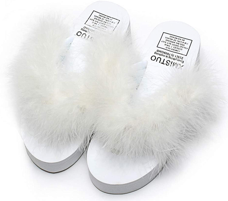Women Flip Flops Wedge Heel Fur Feather Marabou Slipper Comfortable Breathable Sandals,C,37