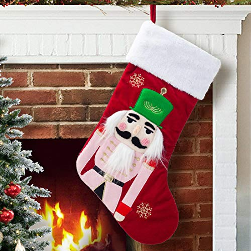 EDLDECCO 20 Inches Christmas Stocking Wine Red Velvet with Faux Fur Cuff Nutcrackers Soldier Applique Home Xmas Tree Mantel Holiday Decoration Ornaments