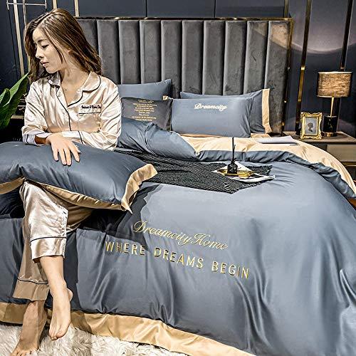 Juego de Funda de edredón para Cama de Matrimonio,Conjunto de cobertura de seda de seda de satén con cremallera Conjuntos de colección de ropa de cama de 4 piezas de calidad de cierre con cremallera