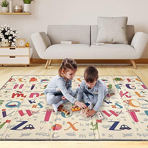 Tapis de Jeu Pour Enfant Bebe 180x200x1,5cm Tapis de Sol XXL en Mousse Epais Pliable Reversible - Tapis d