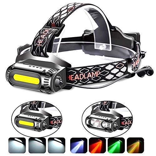 DOOK Stirnlampe LED, USB Wiederaufladbare Kopflampe, Wasserdicht Led COB Stirnlampen Super helle, Headlamp Leichtgewichts Perfekt für Laufen, Joggen, Angeln, Campen, für Kinder und mehr