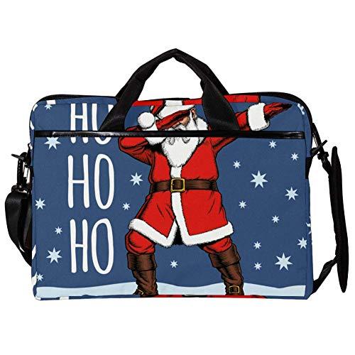 TIZORAX Laptop Messenger Shoulder Bags Ho Christmas Santa Claus Computer Sleeve Notebook Carrying Case 15-15.4 inch Handbag