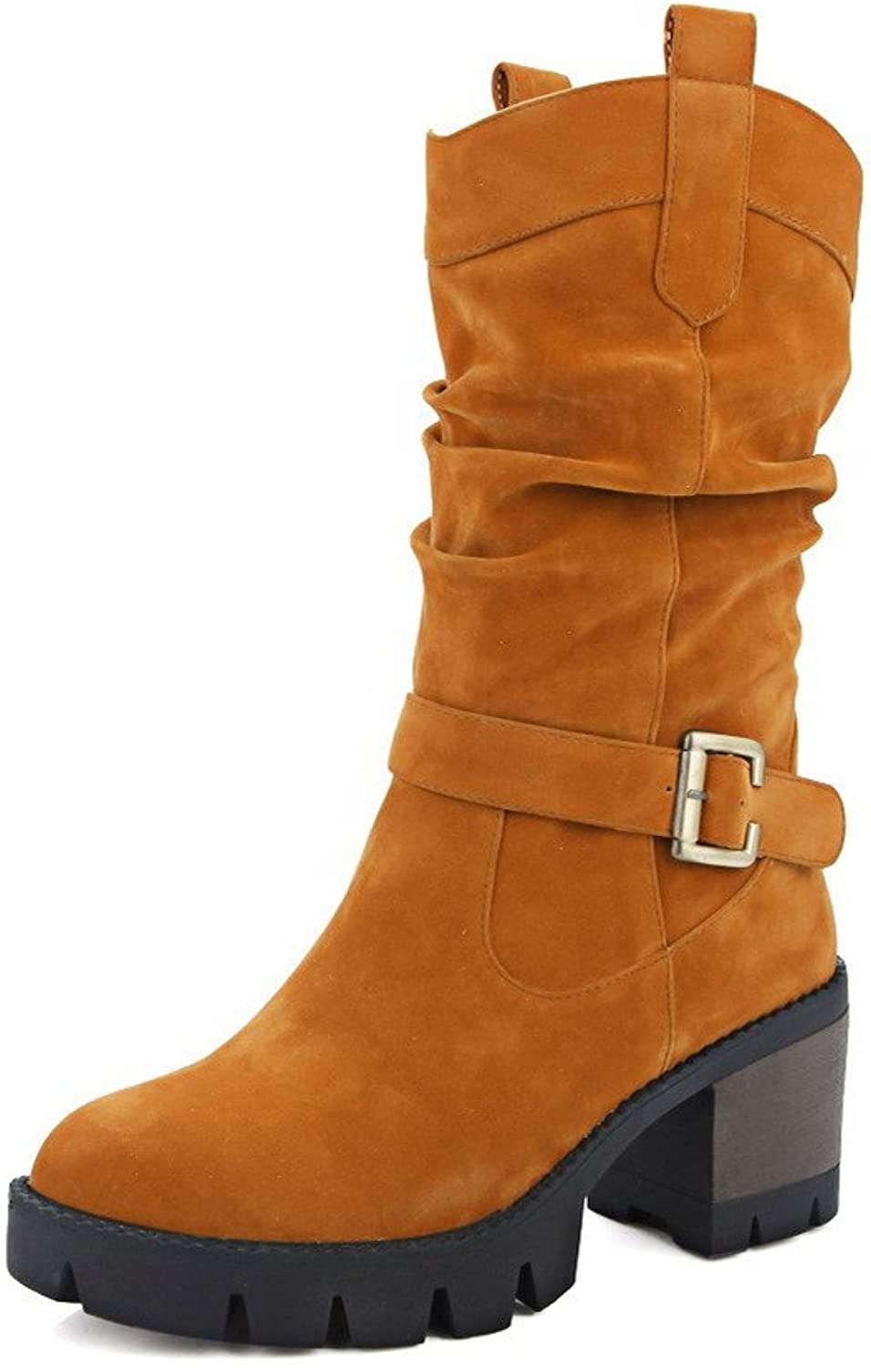 AllhqFashion Women's Imitated Suede Low-top Solid Pull-on Kitten-Heels Boots