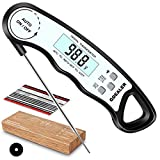 GDEALER DT6 Instant Read Meat Thermometer Waterproof Ultra Fast Digital Cooking Thermometer with Backlight & Calibration Food Thermometer for Kitchen BBQ Grill Smoker Oil Fry (Black White)