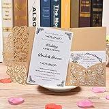 BESNIN Laser Cut Invitaciones, 40 piezas Invitaciones de boda con sobres Kits de invitaciones de boda con corte láser, Boda hueca con papel imprimible en blanco