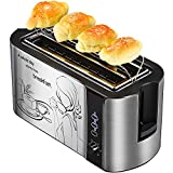grille pain 4 tranches, toaster grille pain 2 fente longue, grille de réchauffage, 6 niveaux de