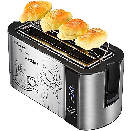 Grille Pain 4 Tranches, Toaster Grille Pain 2 Fente Longue, Grille de Réchauffage, 6 Niveaux de Brunissage, Décongélation/Réchauffage/Annulation, Grille Pain Noir, Inoxydable Design Elégant