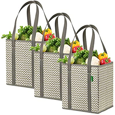 Reusable Shopping Box Bags (3 Pack - Chevron). Large, Premium Quality Reusable Grocery Bags with Rigid Sides & Reinforced Bottom. Reusable Shopping Bags for Groceries - Collapsible Storage Tote Bags