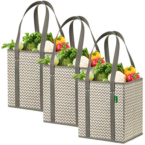 Reusable Grocery Shopping Box Bags (3 Pack - Chevron). Stylish, Premium Quality, Heavy Duty Tote Set with Extra Long Handles & Reinforced Bottom. Foldable, Collapsible, Durable and Eco Friendly