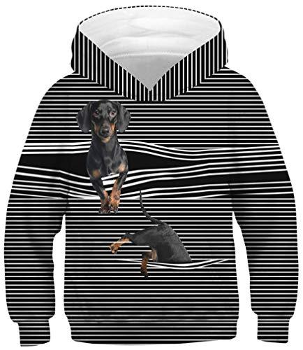 Ocean Plus Jungen Kapuzenpullover Bunt Teens Hoodie Kinder Langarm Pulli mit Kapuzen Sweatshirt Pullover (L (Körpergröße: 145-150cm), Gestreifter Gummiband Hund)