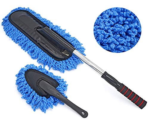 ocharzy Microfiber Car Duster Exterior Interior Cleaner with Extendable Handle (Mop Duster Kit, Blue)