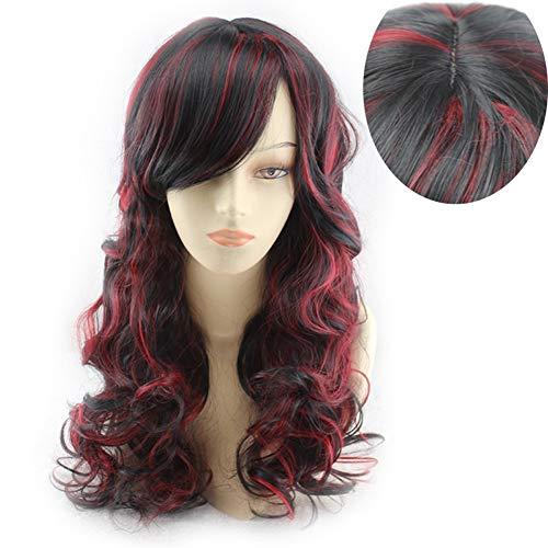 WQWIG Peluca de Pelo Rizado Mixto Rojo Negro de 17″45 cm para Damas, Peluca sintética Larga y rizada…